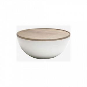 Masuta maro/alba din lemn si fibra de sticla pentru cafea 90 cm Bowl Bolia