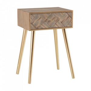 Masuta maro/aurie din lemn de paulownia 34x45 cm Kerk Ixia
