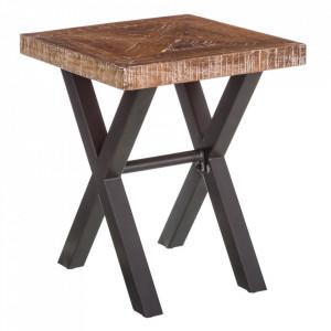 Masuta maro/neagra din lemn de tec si fier 50x50 cm Brecht Ixia