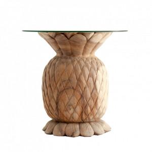 Masuta maro/transparenta din sticla si lemn 70 cm Pineapple Vical Home