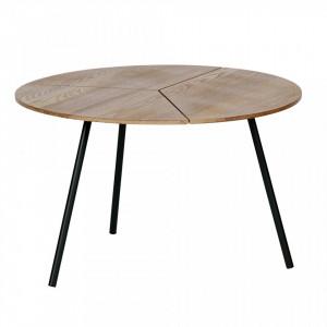Masuta neagra/maro din lemn de frasin si MDF pentru cafea 60 cm Rodi L Woood