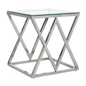 Masuta transparenta/argintie din sticla si inox 55x55 cm Paramount Richmond Interiors