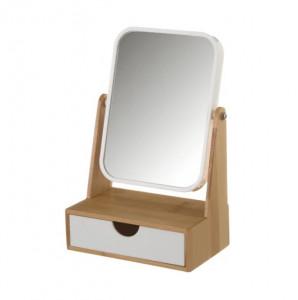 Oglinda cosmetica alb/maro din polistiren si lemn de bambus 16,3x24,8 cm Cosima Unimasa