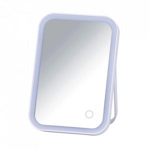 Oglinda cosmetica de masa cu LED dreptunghiulara alba din plastic 15x22 cm Arizona Wenko