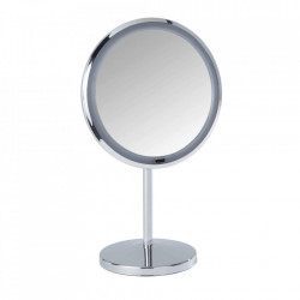 Oglinda cosmetica de masa cu LED rotunda argintie din metal 20x34 cm Onno Wenko