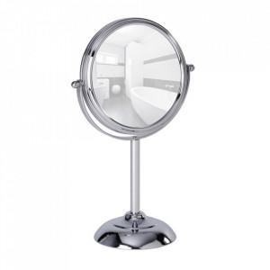 Oglinda cosmetica de masa rotunda argintie din metal 18x29 cm Globo Wenko