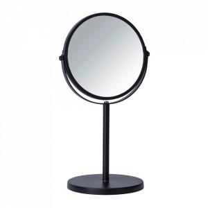 Oglinda cosmetica de masa rotunda neagra din metal 18x34 cm Assisi Wenko