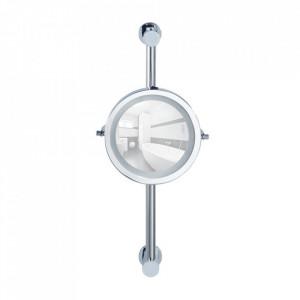 Oglinda cosmetica rotunda cu LED argintie din metal 25x50 cm Carpi Fix Wenko