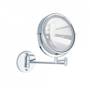 Oglinda cosmetica rotunda cu LED argintie din metal 32x35 cm Lumi Wenko