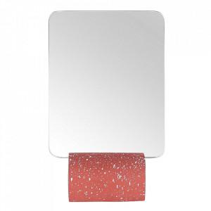 Oglinda de masa dreptunghiulara rosie din terrazzo 15x23 cm Muzz Zago