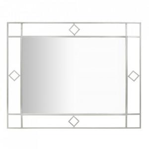 Oglinda dreptunghiulara argintie din fier 80x100 cm Oslo Mauro Ferretti