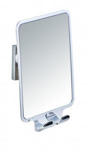 Oglinda dreptunghiulara argintie din plastic pentru baie 14x19 cm Vacuum-Loc Quadro Wenko