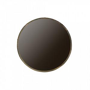 Oglinda rotunda din metal si alama antichizata 100 cm Lauren XXL Woood