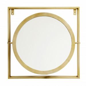 Oglinda rotunda in rama patrata aurie 61x61 cm Square Nordal