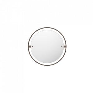 Oglinda rotunda maro bronz din alama si MDF 60 cm Nimbus Menu