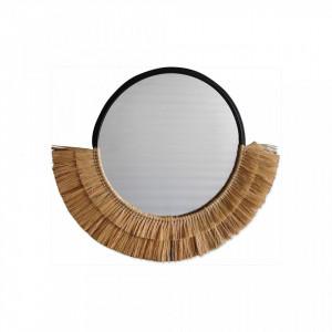 Oglinda rotunda maro din fibre naturale 60 cm Half Natural Village Opjet Paris