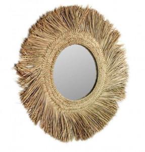 Oglinda rotunda maro din fibre naturale si sticla 72 cm Rumer La Forma