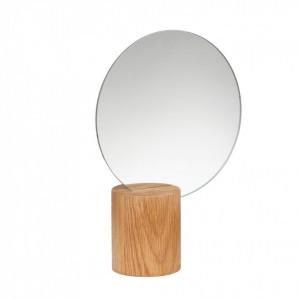 Oglinda rotunda maro din lemn de stejar 9 cm Nature Wood Hubsch