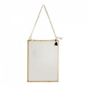 Oglinda suspendabila aurie din fier si sticla 15x20 cm Novium Madam Stoltz