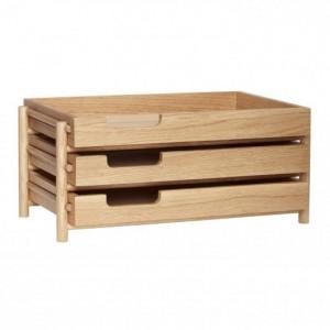 Organizator maro din lemn pentru birou Letter Tray Hubsch