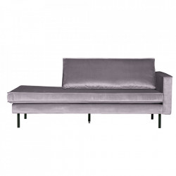 Pat de zi gri deschis din catifea Rodeo Daybed Right Be Pure Home