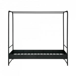 Pat negru din metal cu baldachin 125x206 cm Bunk Woood