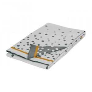 Patura gri din bumbac pentru copii 80x100 cm Dots Grey Done by Deer