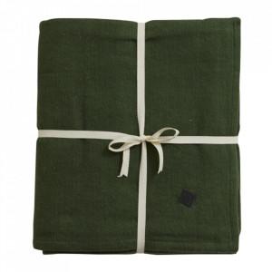 Patura verde inchis din bumbac 150x200 cm Yoga Nordal