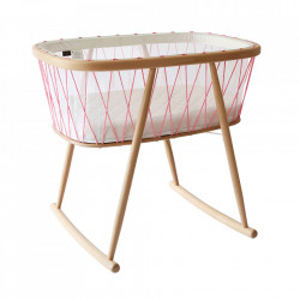 Patut balansoar maro/roz din lemn si poliester 56x81 cm Kumi Charlie Crane
