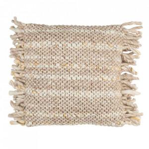 Perna decorativa bej din bumbac si lana 45x45 cm Frills Beige Zuiver