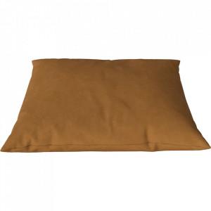 Perna decorativa patrata maro coniac din piele 60x60 cm Classic Austin Bolia