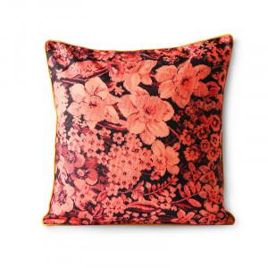 Perna decorativa patrata rosie/galbena din poliester si bumbac 50x50 cm Coral HK Living