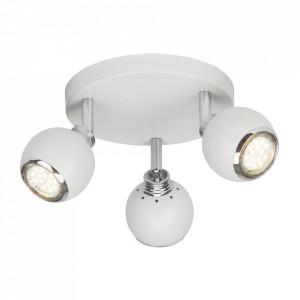 Plafoniera alba/argintie din metal cu 3 LED-uri Ina Brilliant