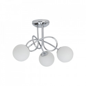Plafoniera argintie/alba din metal si sticla cu 3 LED-uri Mirella Brilliant