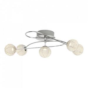 Plafoniera argintie din aluminiu si metal cu 5 LED-uri Dajana Brilliant