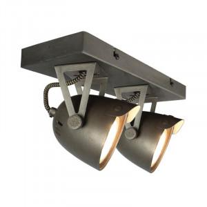 Plafoniera gri din metal cu 2 becuri Spot Cap LABEL51