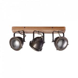 Plafoniera maro din metal si lemn cu 3 becuri Carmen Brilliant