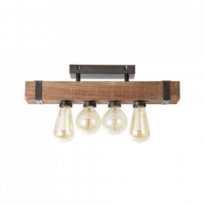 Plafoniera maro/neagra antichizata din metal si lemn cu 4 becuri Woodhill Brilliant