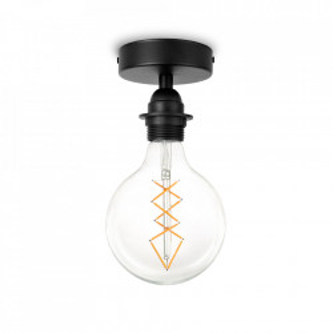 Plafoniera neagra din cauciuc termoplastic si otel Uno Plus Bulb Attack