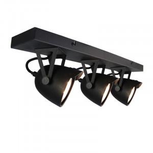 Plafoniera neagra din metal cu 3 becuri Spot Cap LABEL51