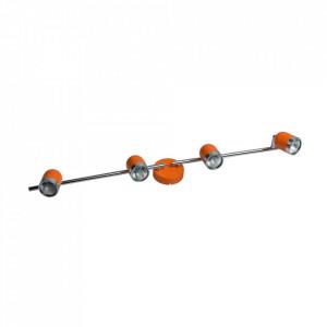 Plafoniera portocalie/argintie din metal cu 4 becuri Orion MW Glasberg