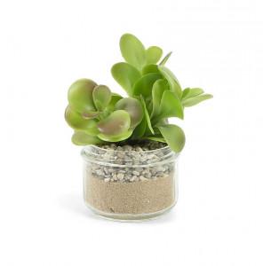 Planta artificiala cu ghiveci din sticla 15 cm Troya La Forma
