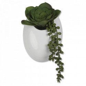 Planta artificiala verde/alba din plastic si ceramica 18 cm Succulents Opjet Paris