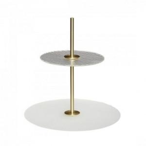 Platou cu 2 niveluri transparent/auriu din sticla si metal 30 cm Etagere Hubsch