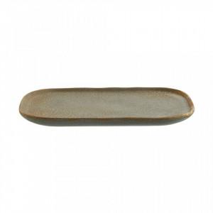 Platou grej/gri din ceramica 15x22,5 cm Zlata Taupe Light Grey Madam Stoltz
