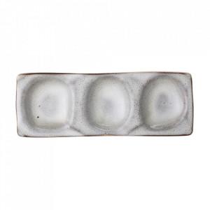 Platou gri din ceramica pentru aperitive 13x36 cm Sandrine Bloomingville
