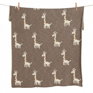 Pled din bumbac 80x100 cm Giraffe Quax