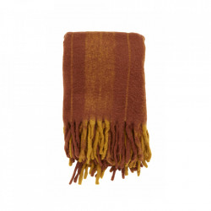 Pled portocaliu din fibre acrilice si lana 130x170 cm Mohair Look Burned Nordal