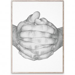 Poster cu rama stejar 50x70 cm Folded Hands - White Paper Collective