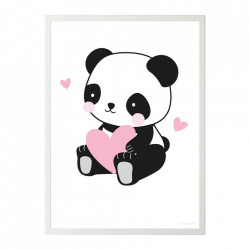 Poster multicolor din hartie 50x70 cm Panda Love A Little Lovely Company
